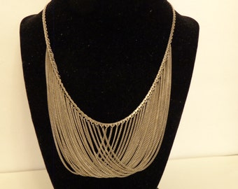 "Sterling Silver Bib Style 18"" Necklace"