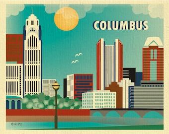 Columbus Skyline Print, Ohio Wall Art, Columbus Wall Art, Columbus Horizontal Print, Columbus Office Art,  Columbus Nursery - style E8-O-COL