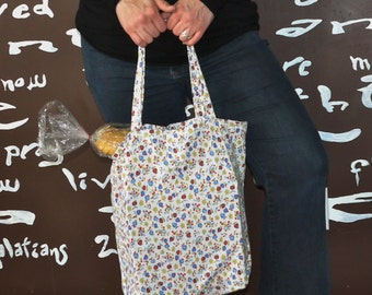 Grocery Tote.  Reusable and Recycled.  Cute Floral Pattern