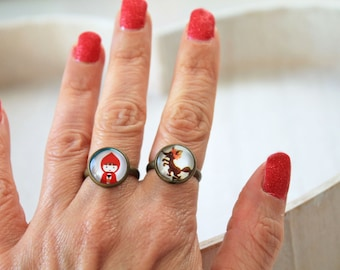Set 2 rings little red riding hood big bad wolf  feminine sweet cute kawaii