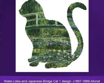 Cat Cross Stitch, Waterillies & Japanese-Bridge Cat 1 Monet Counted Cross Stitch Kit, Starry Night CrossStitch, Monet Cross Stitch,