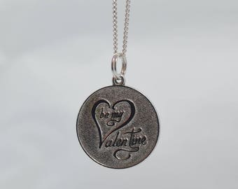"Vintage Sterling Silver ""Be My Valentine"" Pendant on 20"" Sterling Chain"