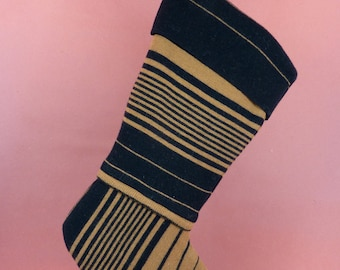 Christmas Stocking Felted Wool Merino OOAK Stripes Black Brown Recycled Repurposed Upcycled 144