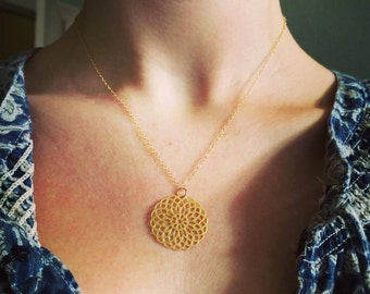 Gold Mandala Necklace with 14k Gold Filled Fine Chain