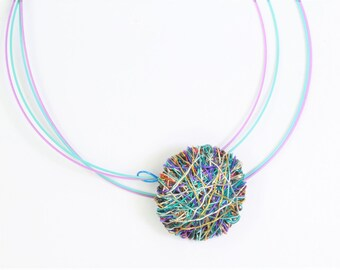 Round necklace, purple turquoise, geometric, cute, disc necklace, minimalist, hippie, wire, handmade jewelry, Summer, unique gift for sister