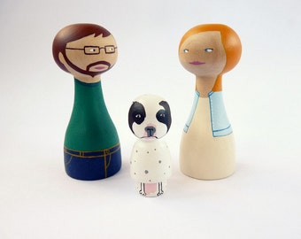Personalized Family of 3 Dolls with a pet Custom portrait FREE SHIPPING  Wooden hand painted woman man pet lover dog cat couple male