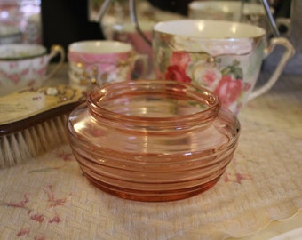 Vintage Pink Depression Glass Dish, Ribbed Pink Glass Dish, Small Pink Dish, Art Deco Pink Glass Bowl, Pink Depression Glass Trinket Dish