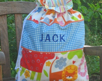 Child's Blue Nursery Animal Personalised Toy Sack, Reversible Kid's Blue Jungle Animal Drawstring Storage Bag, Handmade in Cotton and Lined
