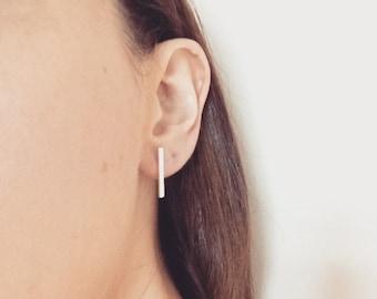 Bar stud, hammered, long hammered earring, stud earrings, geometric earrings, silver earrings, gold earrings