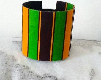 Wax African fabric Cuff Bracelet.