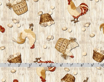 Rooster & Chicken Fabric, Egg Fabric, Chicken Quilt Fabric, Henry Glass Plain and Simple 8804, Color Principle, Farmhouse Chic, Cotton