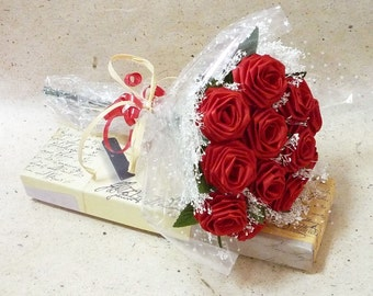 1 Dozen Gifted Wrap Origami Be Mine Rose Bouquet in Red Single Stem Roses for Valentine's Day, Anniversary gift