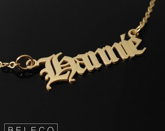 Old English Name Necklace, Old English Name, Any name, 15 Font Style To Choose Perfect Gift For Her To Halloween And Christmas
