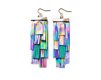 Holographic Earrings, Festival Jewelry, Leather Earrings, Festival Earrings, Silver Hologram Earring, Iridescent Earrings, Statement Earring