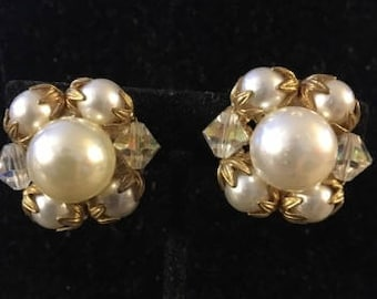 Vintage Classic Pearl and Crystal Clip Earrings
