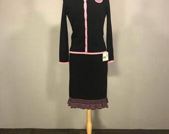 Sag Harbor Set, Knit Twin Set, Black and Pint Knit skirt, Whimsical Black Knit Jacket