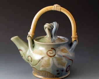 Handmade Ceramic Teapot with Flower Design and Cane Handle, Tea Makers, High Tea, Tea Party, Tea Ceremony, Teapots