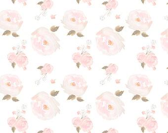 Crib Skirt Soft Pink Watercolor Rose. Baby Bedding. Crib Bedding. Crib Skirt Girl. Baby Girl Nursery. Floral Crib Skirt. Pink Crib Skirt.
