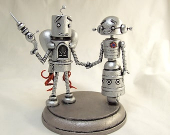 Retro Wood Robot Bride and Groom Wedding Cake Topper in Silver with Rocket Pack