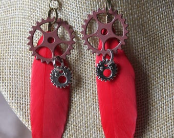 """steampunk gears """"3"""" with feather earrings"""