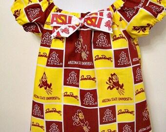 ASU - Arizona State University - Girls Peasant Shirt Top and  Headband -  SunDevils - Sparky - Maroon and Gold