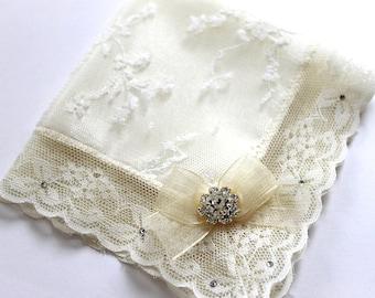 Swarovski bride handkerchief Lace Handkerchief Ivory handkerchief Mother of bride gift Couture wedding hankie Bridal shower gift Bride Hanky
