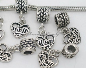 Mom, Mother Dangle.  European Charm Bead  For All Large Hole Charm Bracelet And Necklace Chains - Gift
