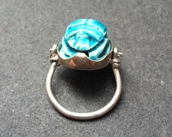 Stone scarab beetle hinged silver ring