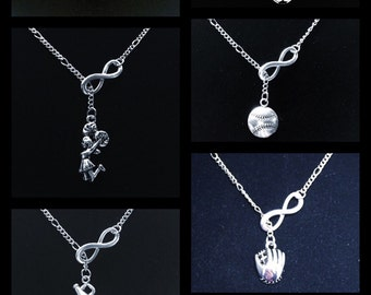 Sports Infinity Necklace ~ Choice of Softball, Baseball, Soccer, Glove, Cheerleader, Megaphone, Basketball, or Football