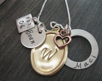 Personalized Hand Stamped Necklace Family Charms Mixed Metal Collection