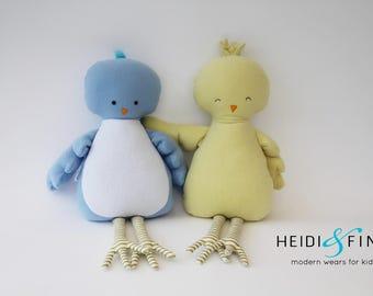 CLEARANCE Pillow doll Birds keepsake gift OOAK yellow blue gold ready to ship