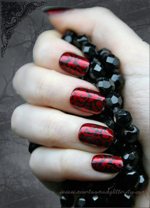 Like this item? - Japanese Nail Art Red Gothic Baroque Press On Fake Nails