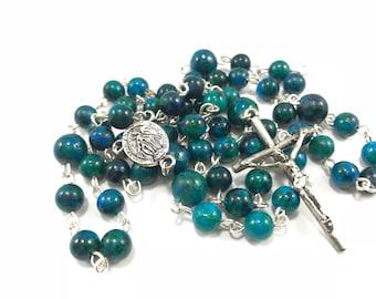 Sapphire Jasper Rosary; Blue Rosary; Blue Green Rosary; Gemstone Rosary; Natural Stone Rosary, Traditional Rosary, Catholic Prayer Beads