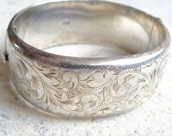 Engraved Sterling Silver Vintage Bangle