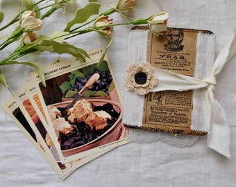 Flip Book - Made From Vintage Library Recipe Cards (Cards shown In photo not included)