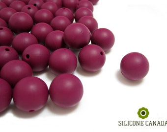9mm - Lot of 10 Burgundy Loose Silicone Beads