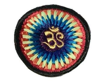 Om Symbol Vintage Patch in a Tie-Dye Style Burst, Handmade, Beautiful Design