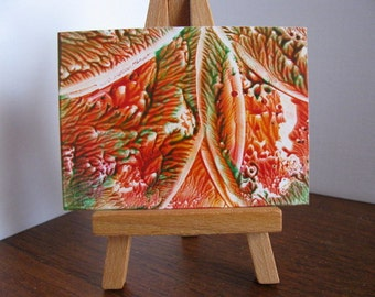 ACEO Tangerine, Forest Green II Abstract Encaustic (Wax) Original Miniature Painting / Miniature Art for Collectors