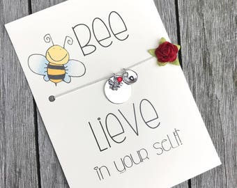 Bee necklace, Honey bee necklace, Bee jewelry, Inspiration necklace, Inspirational gift, Bee lovers gift, Bee, Initial necklace, A78