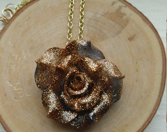 Gold-Dusted Navy Resin Rose