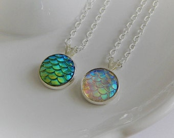 Mermaid Scale Necklace, Scale Necklace, Dragon Scale Necklace, Mermaid Scale Pendant, Silver Necklace