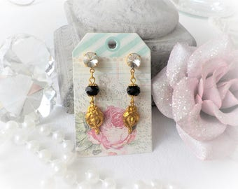 Art Nouveau brass and black crystal earrings