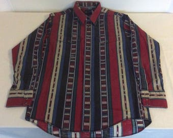 Wrangler Mens L Vintage Multi Color Southwest Aztec Stripe Pearl Snap Western Shirt