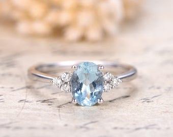 5x7mm Oval Cut Aquamarine Ring Solid 14K White Gold Aquamarine Engagement Ring,Diamond Wedding Ring Deco Plain Gold Band,Promise Ring,Pave