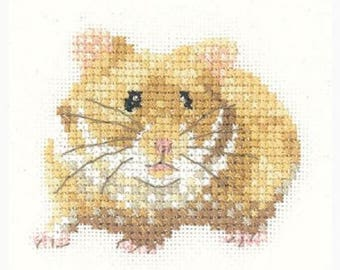 Hamster Cross Stitch Kit from Heritage Craft on 14ct Aida, golden hamster cross stitch kit, Heritage craft cross stitch, rodent kit