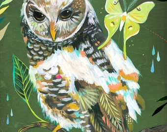 Hazel and Luna art print | Owl Wall Art | Nursery Decor | Nature Print | Katie Daisy Art | 8x10 | 11x14