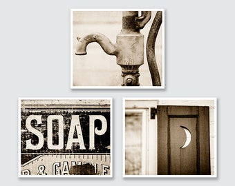 Vintage Sepia Bathroom Wall Decor, Sepia Bathroom Prints or Canvas Set, Sepia Bath Set, Rustic Bathroom Decor Set of 3 Prints.