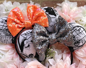 Nightmare before Christmas/ jack/ sally/ black/ white/ orange/ grey/ headband/ sequin/ ears/ bow