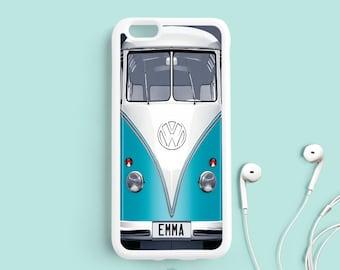Volkswagen Bus iPhone 7 6/6s Case, Turquoise VW Van iPhone 6 Plus Case, iPhone 5 5C 5S 4s, Samsung Galaxy S3 S4 S5, Note 3 4 5 Case NP17f
