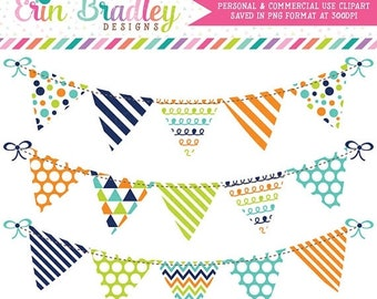 80% OFF SALE Clipart Bunting Flags in Navy Blue Orange & Green Commercial Use Banner Clip Art